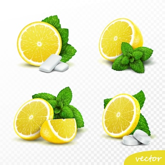 3d реалистичный набор целых и нарезанных лимонов со свежими листьями мяты, варианты с круглыми таблетками и резинками