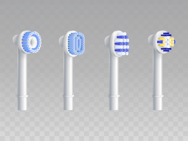 3d realistic set of removable nozzles for toothbrushes.