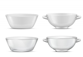 3d realistic set transparent tableware or white porcelain tureens with handles Glass or china