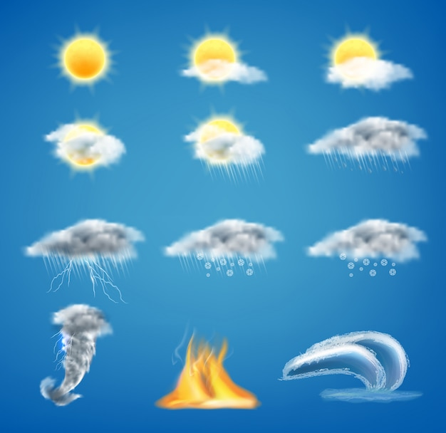 3d realistic set of weather forecast icons for web interfaces or mobile apps