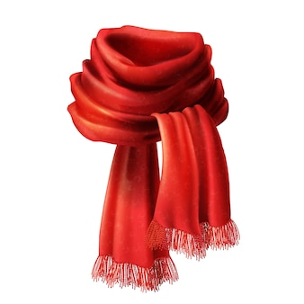 3d realistic silk red scarf. knitted fabric cloth, alpaca wool for winter