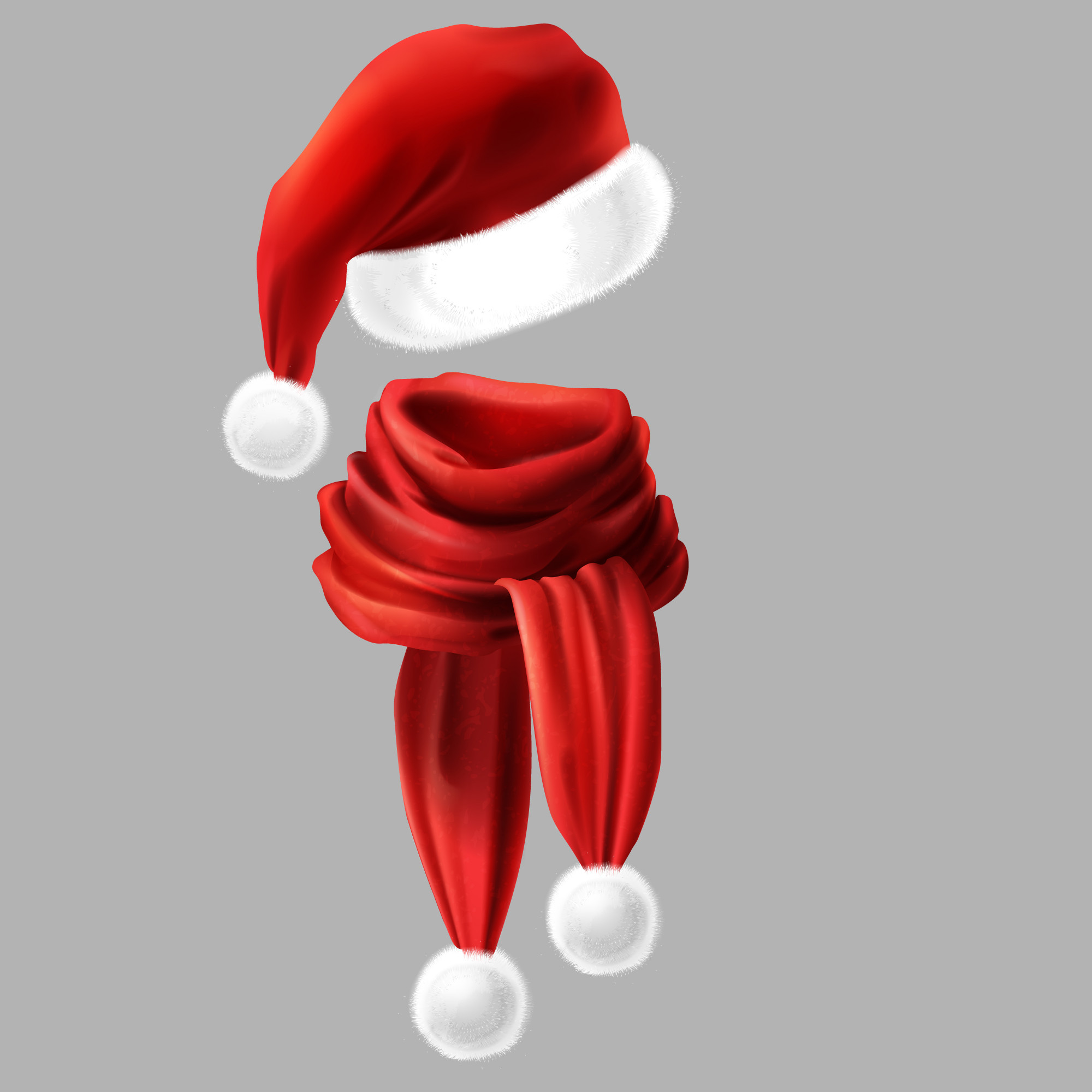 3d realistic silk red scarf with white fur and Santa Claus headwear, hat.