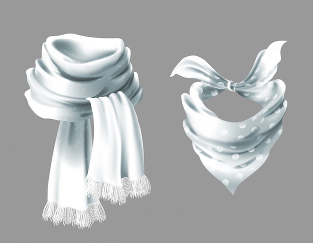 3d realistic silk white scarf. fabric cloth of dotted neckerchief.