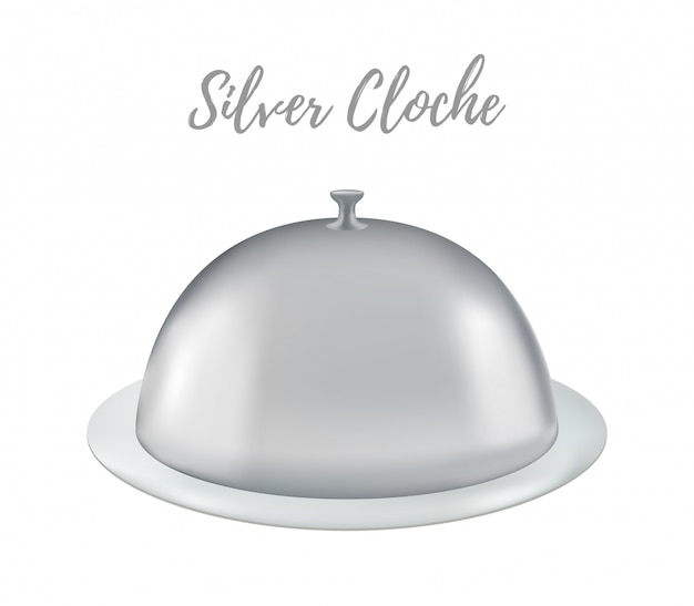 3d realistic silver cloches