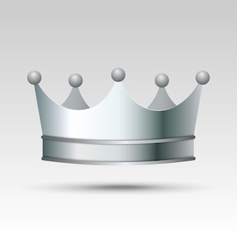 3d realistic silver crown.