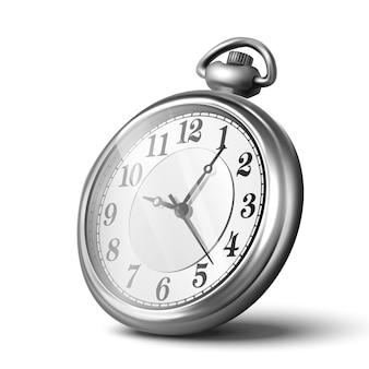 3d реалистичные серебряные ручные часы, спидометр. изолированные на белом фоне, значок иллюстрации.