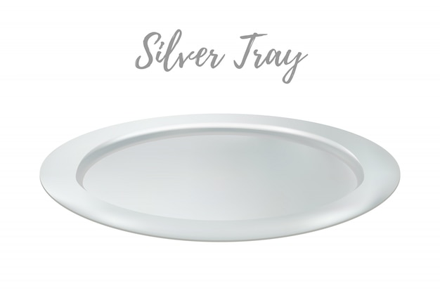 3d realistic silver tray - restaurant metallic salver