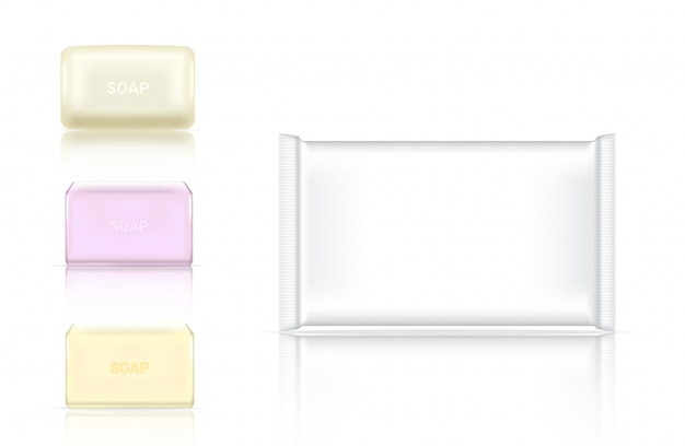 3d realistic soap bar cosmetic packaging