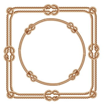 3d realistic square and round frames, made from fiber ropes.