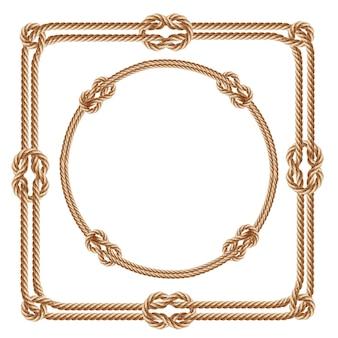 3d realistici quadri quadrati e rotondi, realizzati con corde di fibra. Vettore gratuito