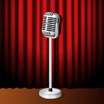 3d realistic standing vintage microphone on backdrop