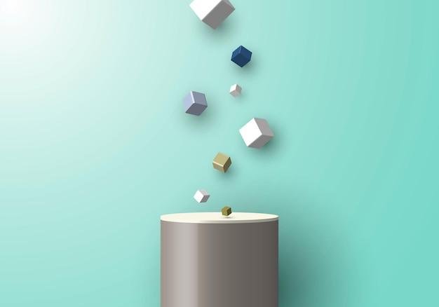 3d realistic studio platform presentation podium festive cube box fall effect elements on green mint background. vector illustration