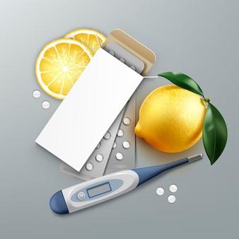 Медицинский набор в 3d реалистичном стиле с таблетками, цифровым термометром и лимонами на сером фоне