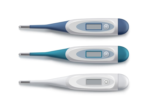 3d realistic style set of digital thermometers isolated on white background