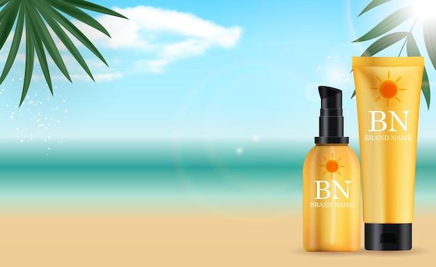 ヤシの葉で夏の海に設定された3dリアルな日焼け止めクリームボトル。