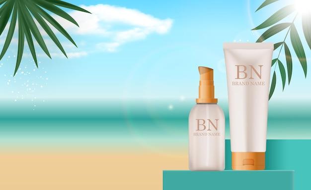 Реалистичная бутылка крема для защиты от солнца 3d на летнем море.