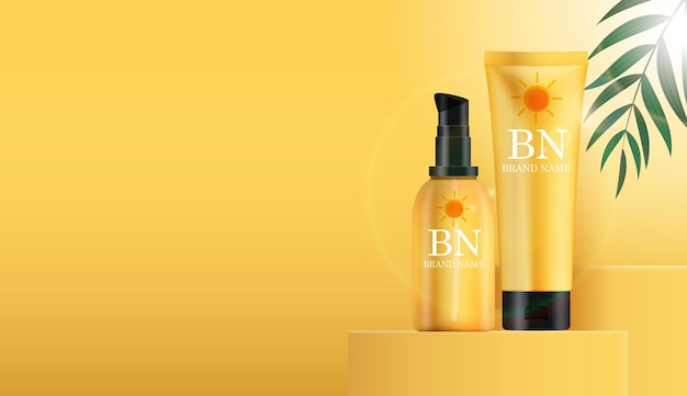 3d realistic sun protection cream bottle on sunny yellow   with palm leaves and podium