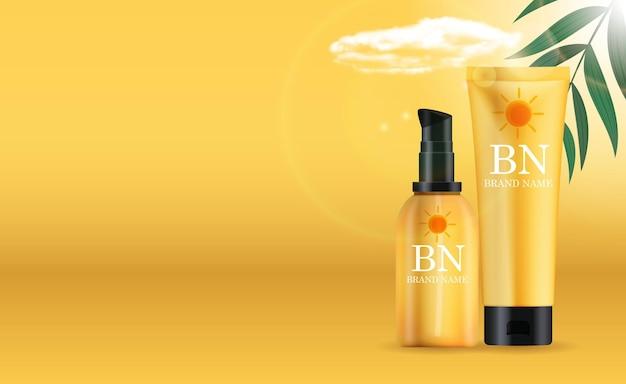 Реалистичная бутылка крема защиты от солнца 3d с облаком, пальмовыми листьями.