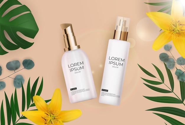 3d реалистичная бутылка солнцезащитного крема с пальмовыми листьями, цветами лилии