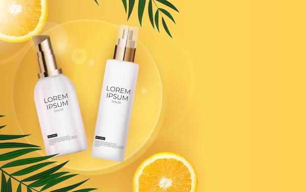Реалистичная бутылка крема для защиты от солнца 3d с пальмовыми листьями, апельсином и подиумом.