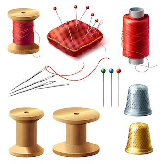 3d realistic tailor set. wooden reel with threads, needles for dressmaking, needlework