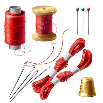 Set di sarto realistico 3d. bobina di legno con fili, aghi e spilli per sartoria