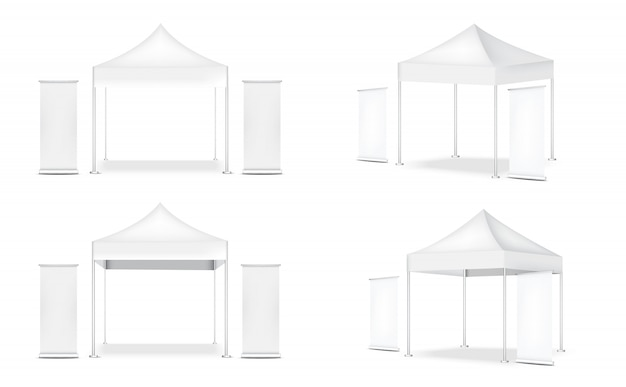 3d реалистичные палатки дисплей pop бут и закатать. баннер для продажи маркетинг продвижение выставка иллюстрация