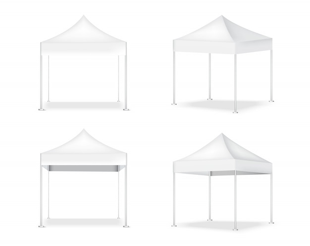 3d   realistic tent display pop booth for sale marketing promotion exhibition   illustration