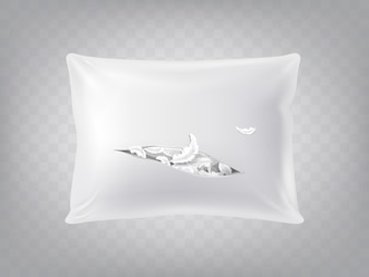 3d realistic torn square pillow isolated on translucent background. Template, mock up of white