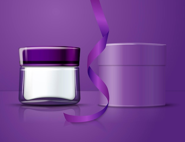 3d realistic transparent glass jar for moisturizing cream with round paper box