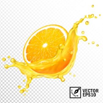 3 dのリアルな透明なスプラッシュスライスオレンジジュース。編集可能な手作りメッシュ。