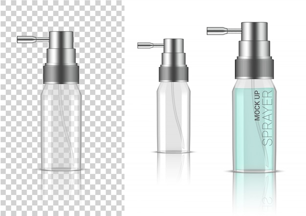 3d realistic transparent spray bottle  cosmetic or lotion for skincare product packaging with silver cap