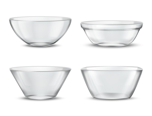 3d realistic transparent tableware, glass dishes for different food. containers with shadows
