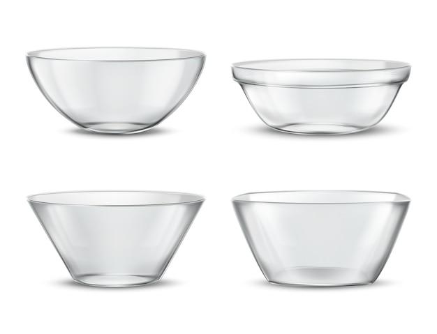 3つの現実的な透明な食器、異なる料理のためのガラス料理。影付きのコンテナ