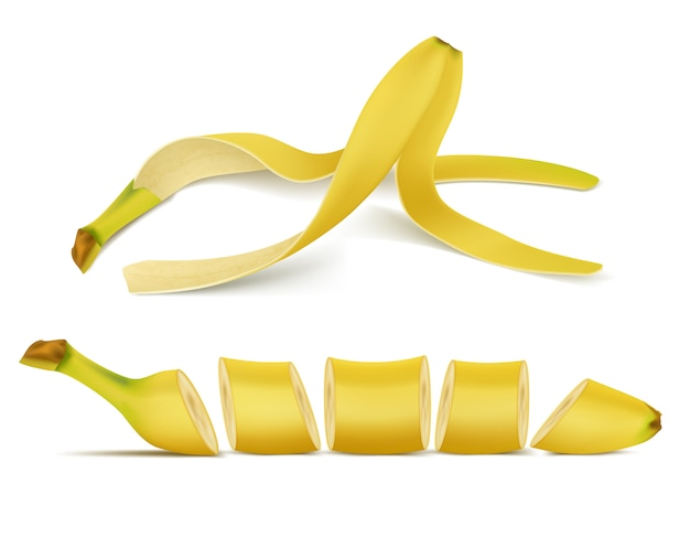 3d realistic tropical banana pile with slices. yellow exotic sweet fruit