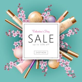 3d realistic valentine day sale banner template, discount offer spring flower sakura pink petal