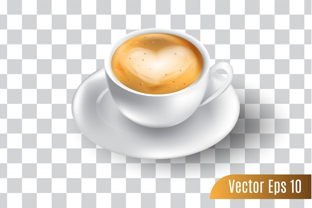 3d realistic vector of espresso coffee isolated transparent