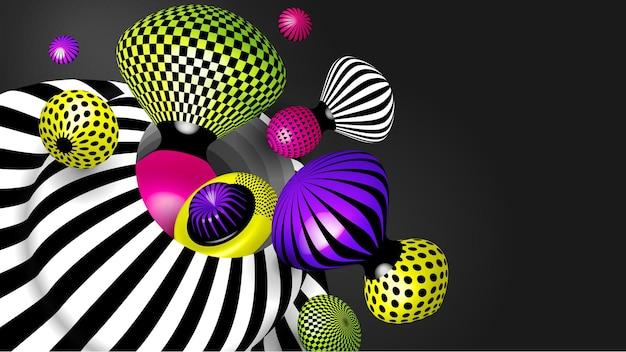 3d 사실적인 벡터 개체입니다. 밝은 현대적인 추세 모양.