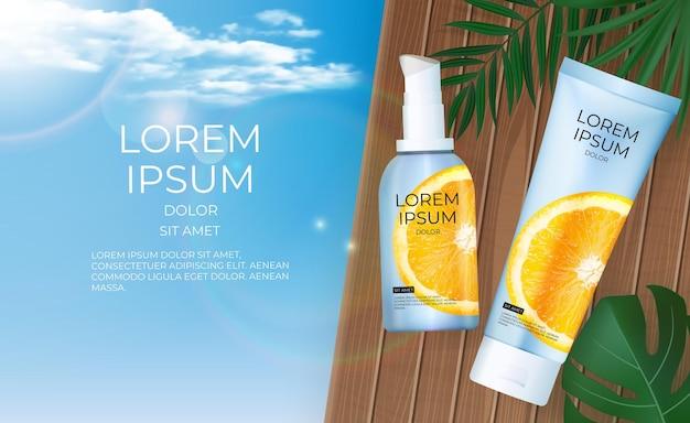 3d реалистичный баннер с бутылкой апельсинового крема витамина c