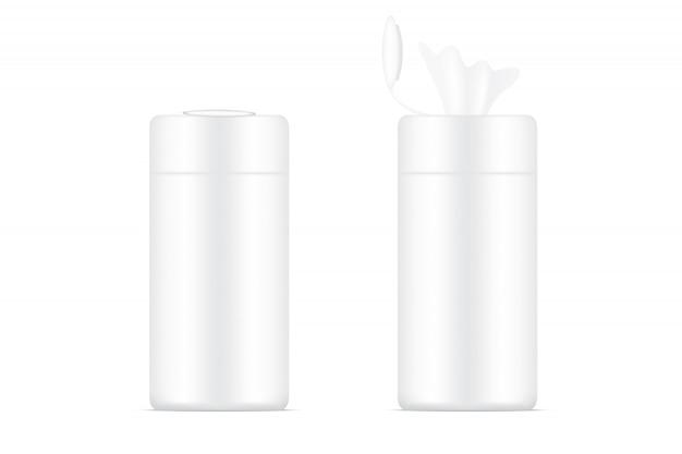 3dリアルなウェットワイプボトルの包装製品。世帯およびヘルスケアのコンセプトデザイン。