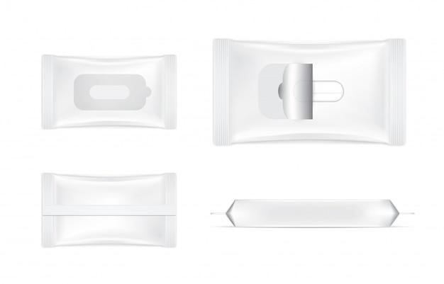 3 dのリアルなウェットワイプフォイルサシェセットバッグ製品パッケージイラスト。ヘルスケアと医療オブジェクト。