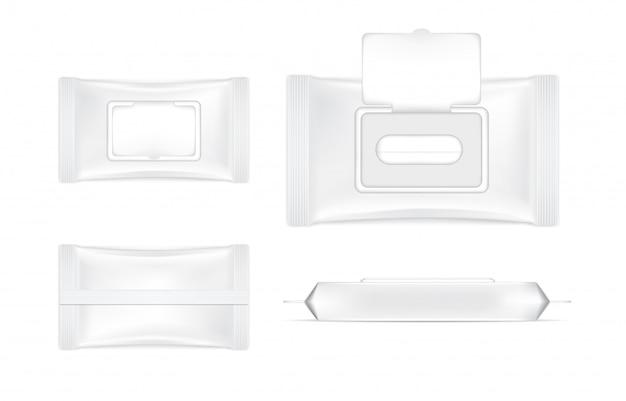 白い背景の図の3 dリアルなウェットワイプフォイルサシェセットバッグ製品の包装。ヘルスケアと医療オブジェクト。