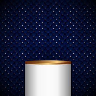 金色のドットの豪華な背景とテクスチャーと青い幾何学的な正方形のパターンデザインの3dリアルな白と金の台座シリンダー製品棚。ベクトルイラスト