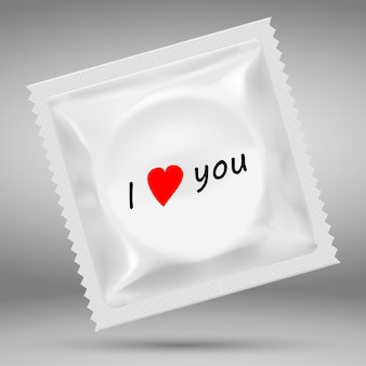 3d realistic white blank template packaging of condom.