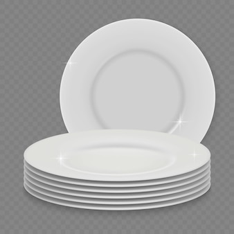 3d реалистичная белая чистая тарелка для посуды