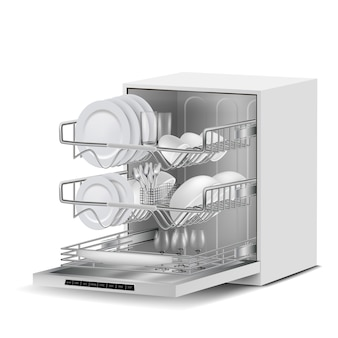 3d realistic white dishwasher machine with three metal racks, filled with clean plates, glass