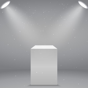 3d realistic white empty museum pedestal or podium