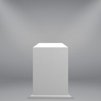 3d realistic white empty museum pedestal or podium