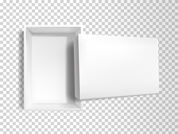 3d realistic white empty paper box
