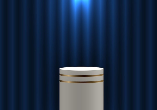 3d realistic white and gold pedestal cylinder product shelf on blue curtain